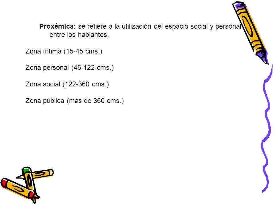 Proxémica: se refiere a la utilización del espacio social y personal entre los hablantes.