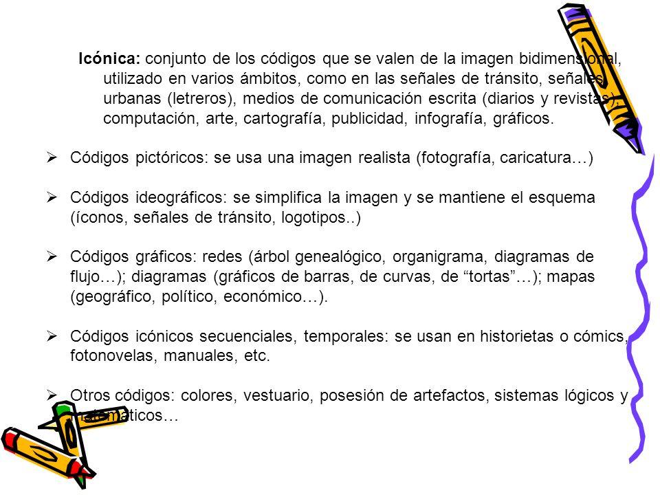 Icónica: conjunto de los códigos que se valen de la imagen bidimensional, utilizado en varios ámbitos, como en las señales de tránsito, señales urbanas (letreros), medios de comunicación escrita (diarios y revistas), computación, arte, cartografía, publicidad, infografía, gráficos.