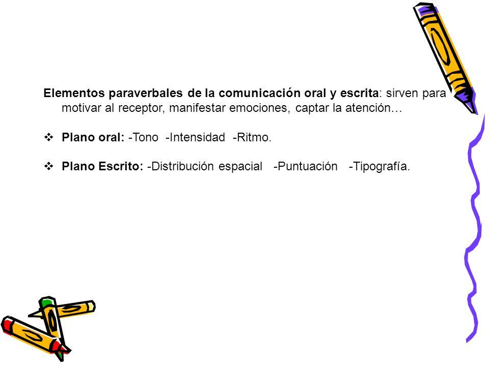 Elementos paraverbales de la comunicación oral y escrita: sirven para motivar al receptor, manifestar emociones, captar la atención…