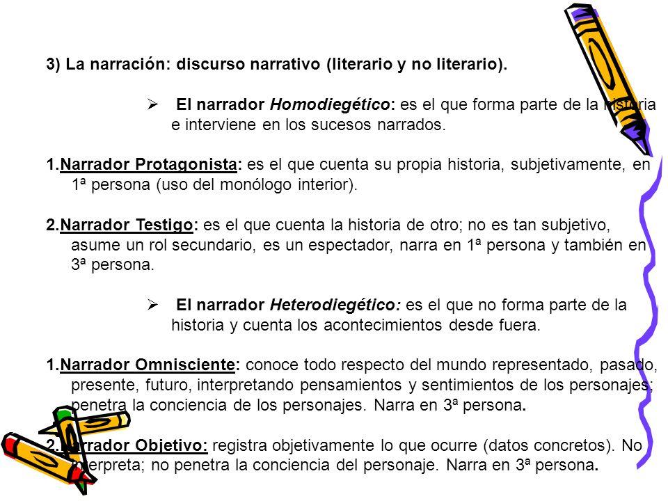 3) La narración: discurso narrativo (literario y no literario).