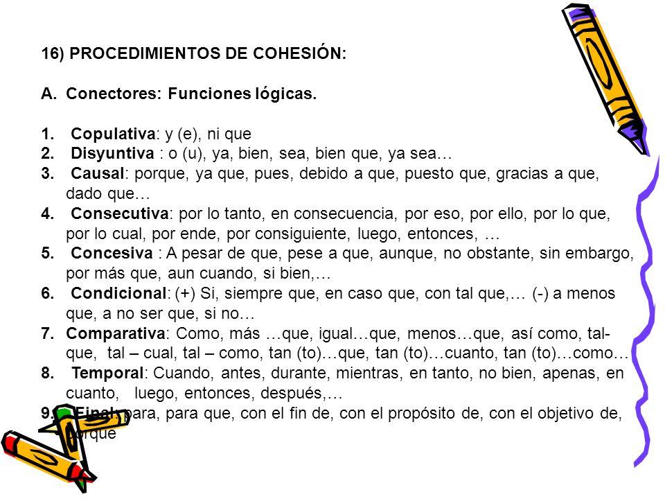 16) PROCEDIMIENTOS DE COHESIÓN: