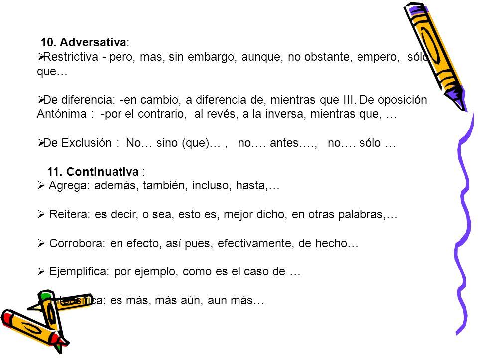 10. Adversativa:Restrictiva - pero, mas, sin embargo, aunque, no obstante, empero, sólo que…