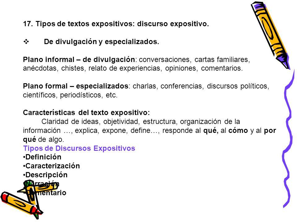 17. Tipos de textos expositivos: discurso expositivo.