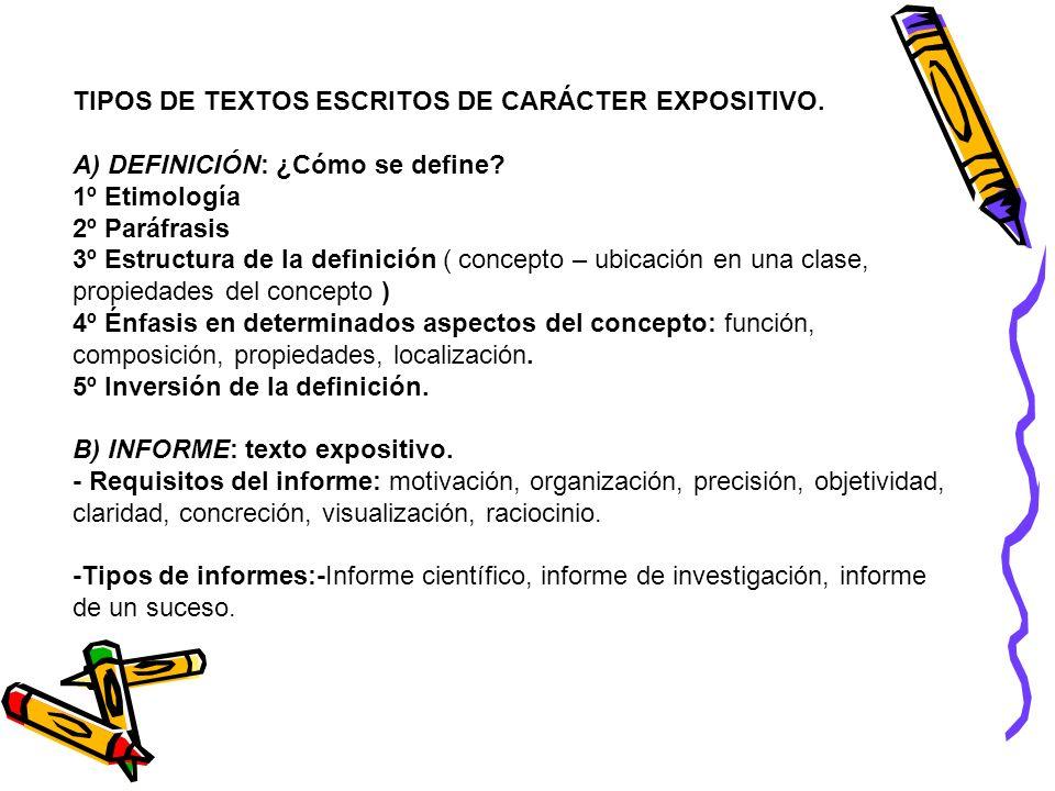 TIPOS DE TEXTOS ESCRITOS DE CARÁCTER EXPOSITIVO.
