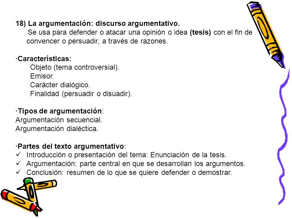 18) La argumentación: discurso argumentativo.