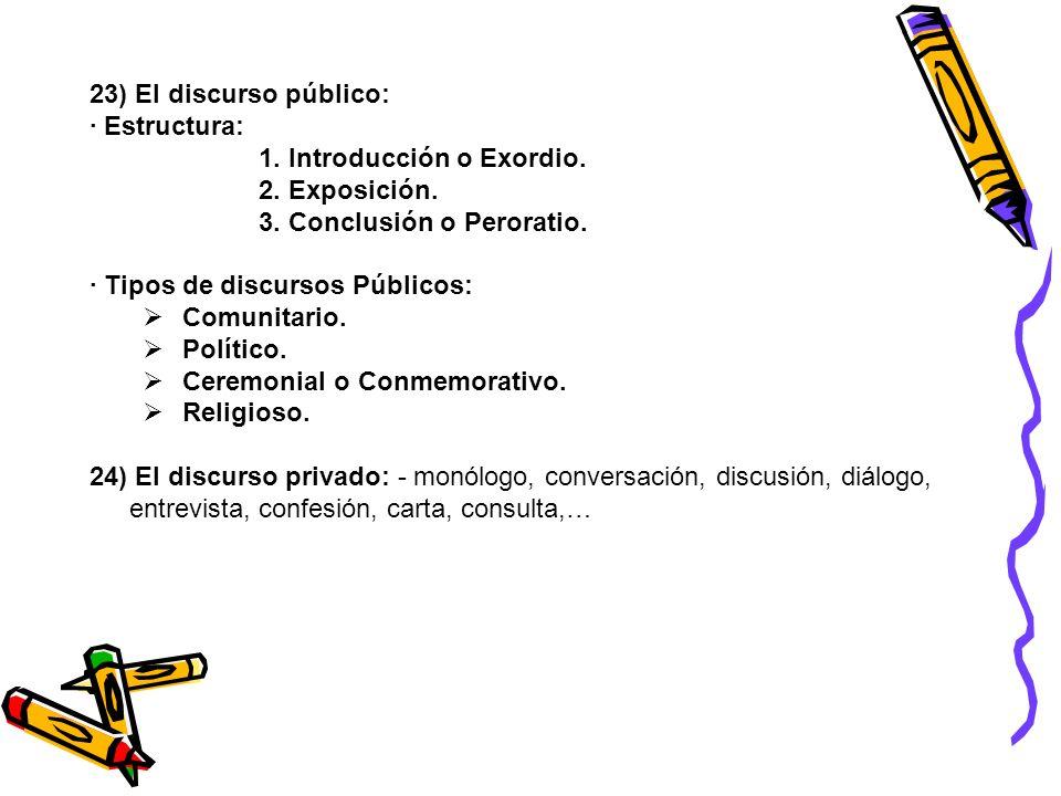 23) El discurso público: · Estructura: 1. Introducción o Exordio. 2. Exposición. 3. Conclusión o Peroratio.