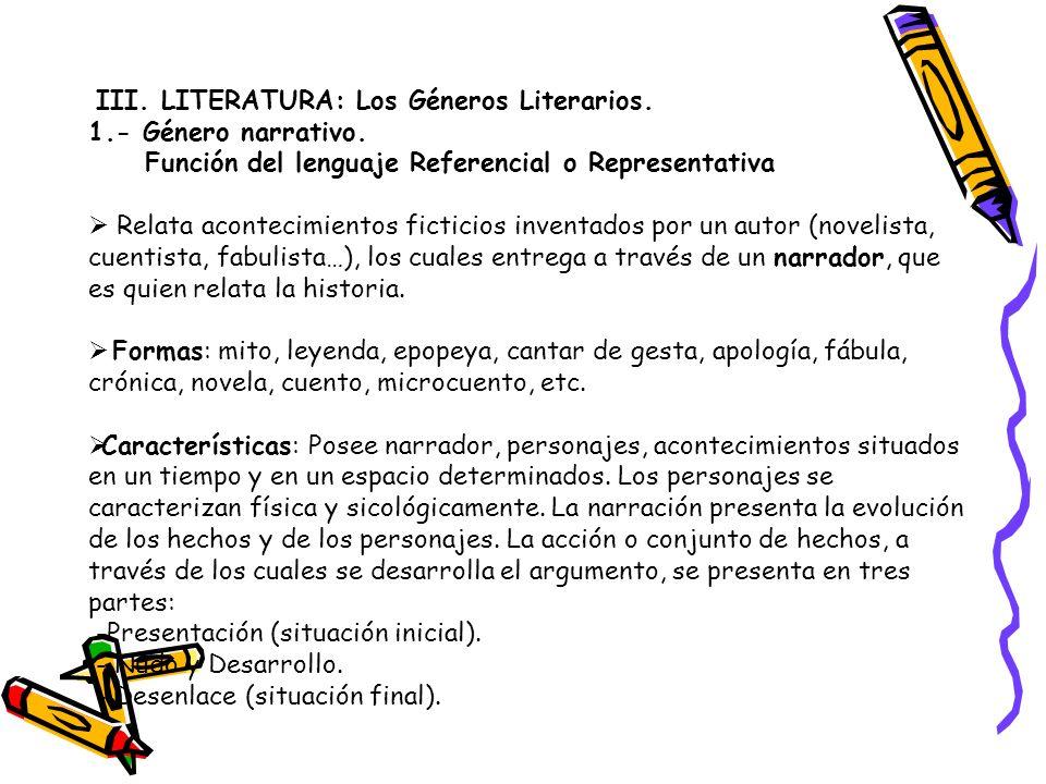 III. LITERATURA: Los Géneros Literarios.