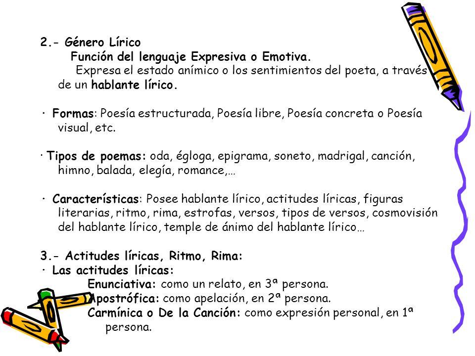 2.- Género Lírico Función del lenguaje Expresiva o Emotiva. Expresa el estado anímico o los sentimientos del poeta, a través de un hablante lírico.