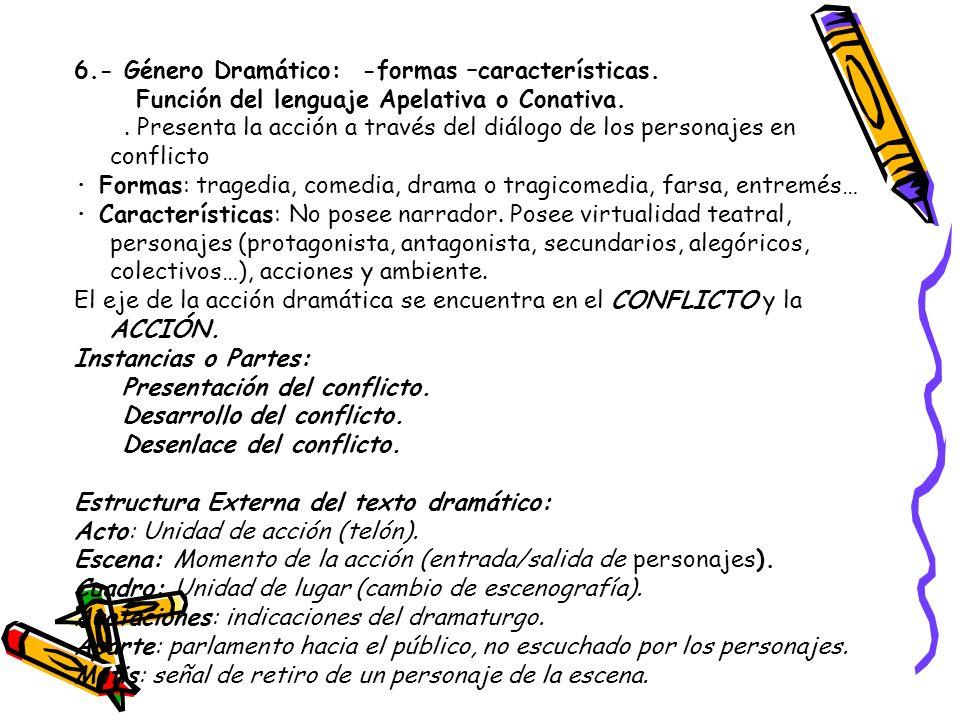 6.- Género Dramático: -formas –características.