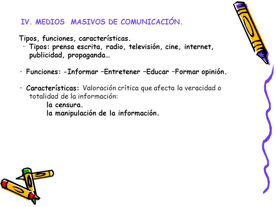 IV. MEDIOS MASIVOS DE COMUNICACIÓN.