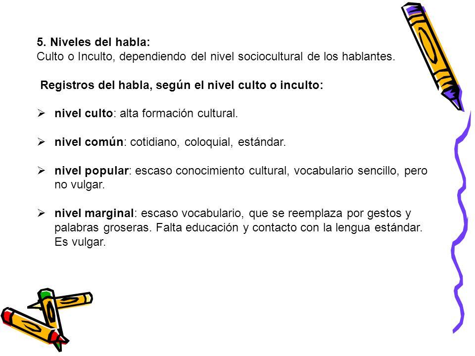 5. Niveles del habla:Culto o Inculto, dependiendo del nivel sociocultural de los hablantes. Registros del habla, según el nivel culto o inculto: