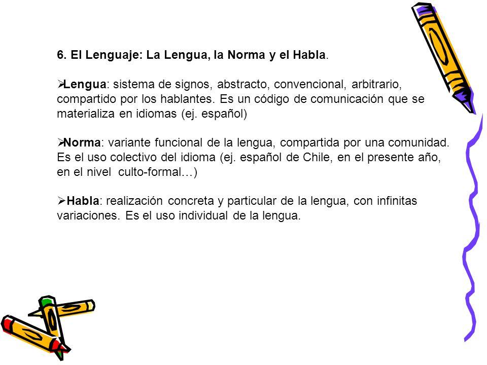 6. El Lenguaje: La Lengua, la Norma y el Habla.