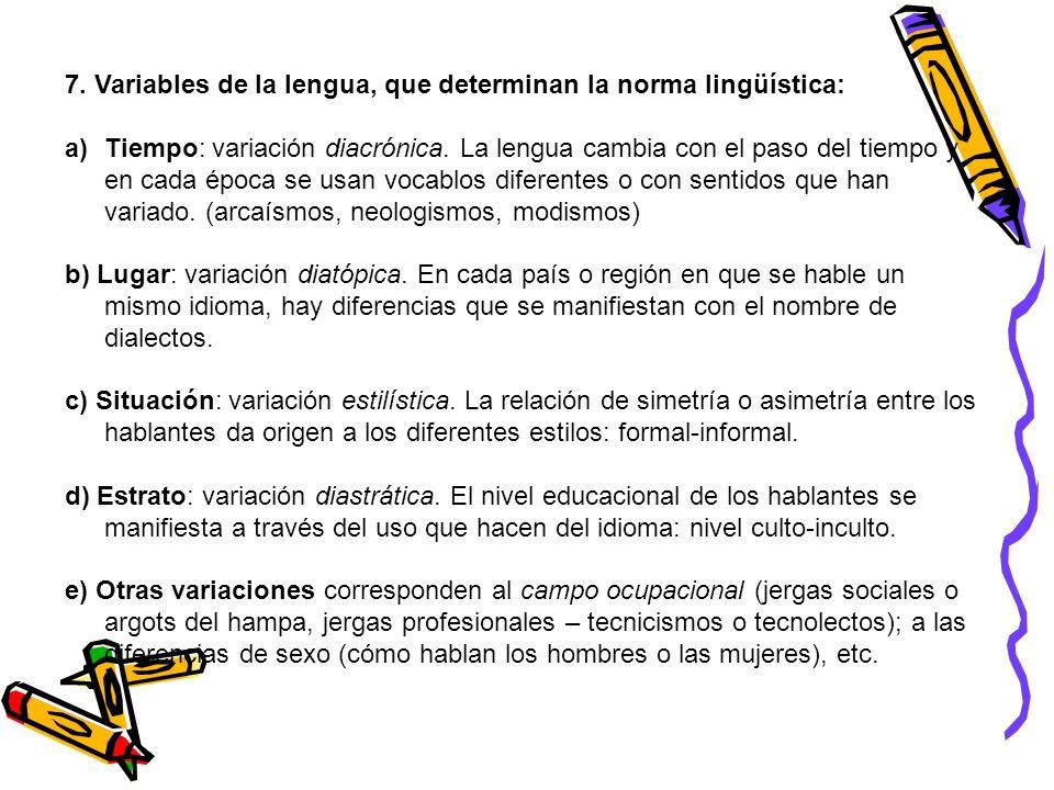 7. Variables de la lengua, que determinan la norma lingüística: