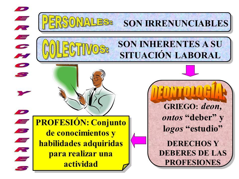 PERSONALES: COLECTIVOS: DERECHOS Y DEBERES DEONTOLOGÍA: