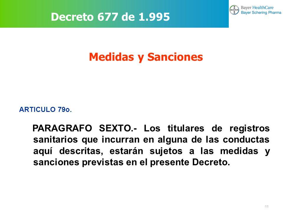 Decreto 677 de 1.995 Medidas y Sanciones
