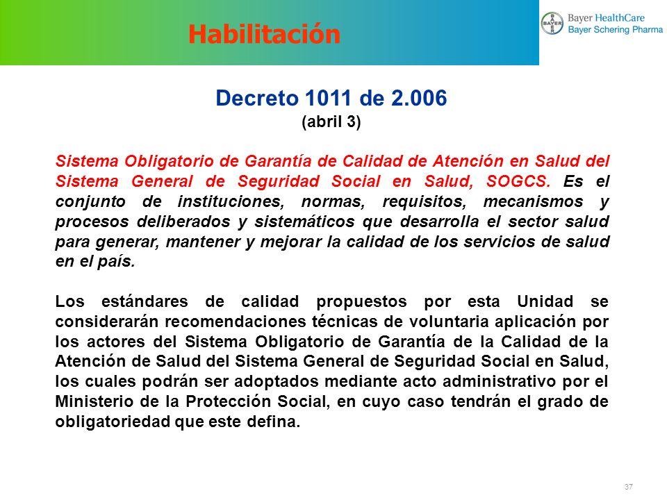 Habilitación Decreto 1011 de 2.006 (abril 3)