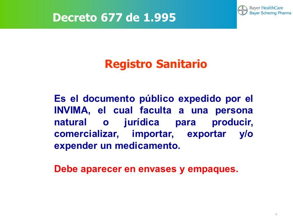 Decreto 677 de 1.995 Registro Sanitario