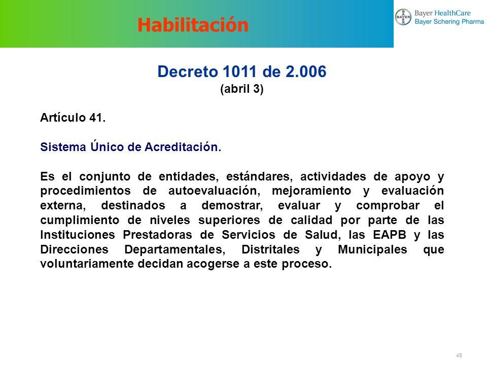 Habilitación Decreto 1011 de 2.006 (abril 3) Artículo 41.
