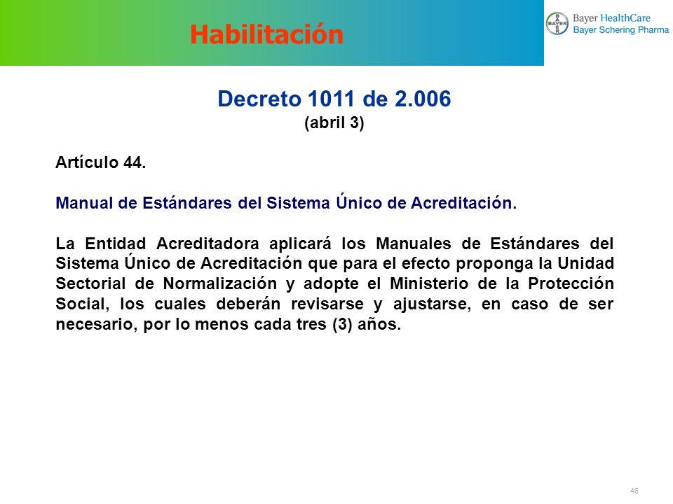 Habilitación Decreto 1011 de 2.006 (abril 3) Artículo 44.