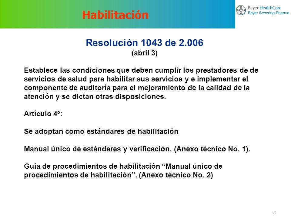 Habilitación Resolución 1043 de 2.006 (abril 3)