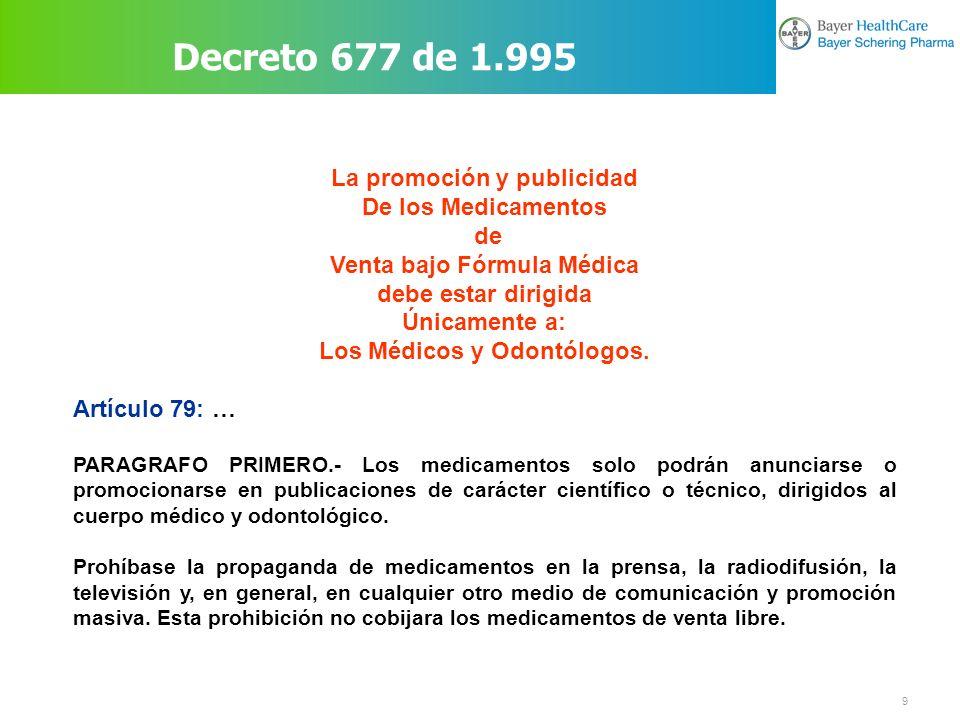 Decreto 677 de 1.995 La promoción y publicidad De los Medicamentos de