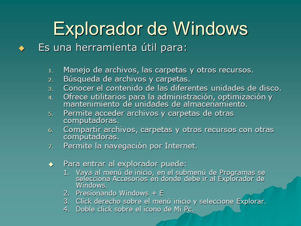 Explorador de Windows Es una herramienta útil para: