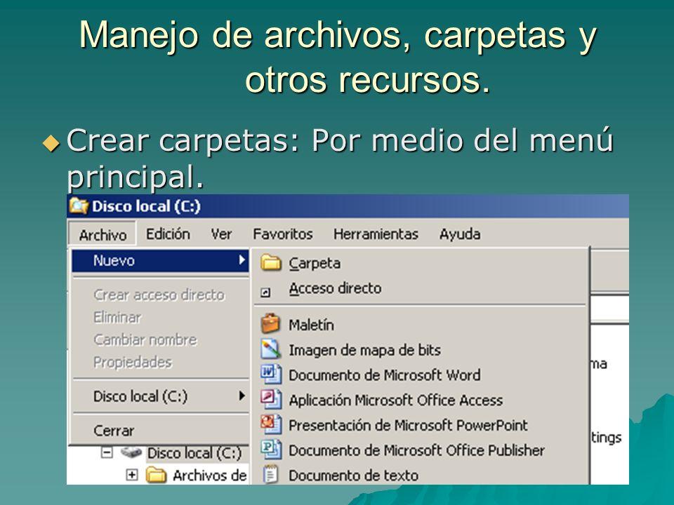 Manejo de archivos, carpetas y otros recursos.
