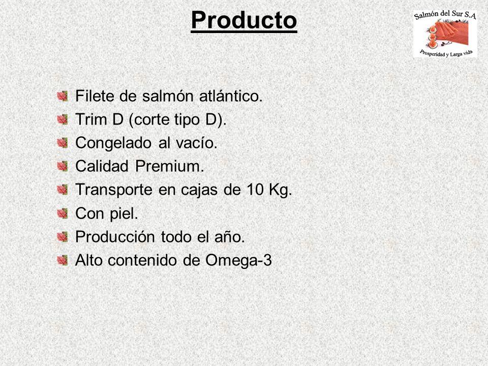 Producto Filete de salmón atlántico. Trim D (corte tipo D).