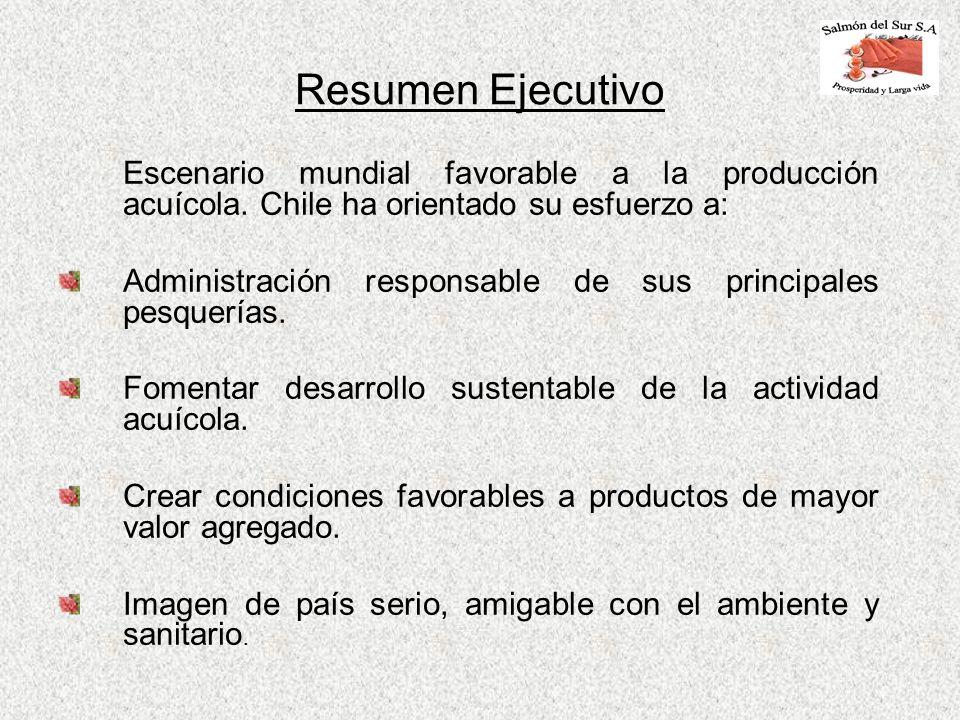Resumen Ejecutivo Escenario mundial favorable a la producción acuícola. Chile ha orientado su esfuerzo a: