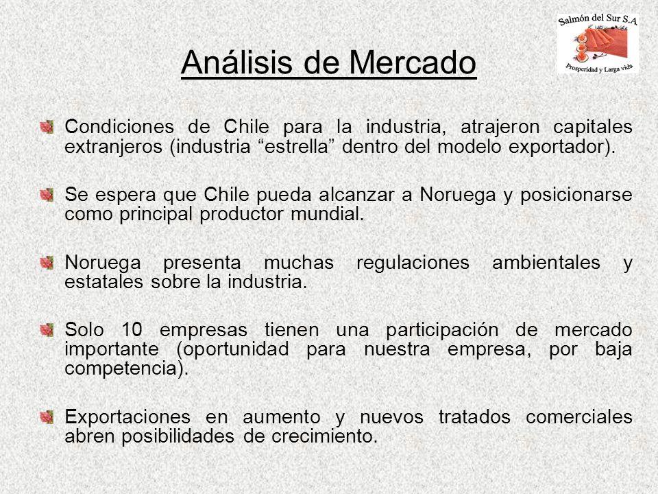 Análisis de MercadoCondiciones de Chile para la industria, atrajeron capitales extranjeros (industria estrella dentro del modelo exportador).