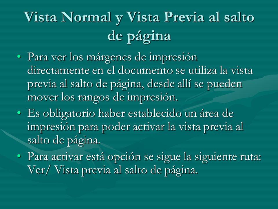 Vista Normal y Vista Previa al salto de página