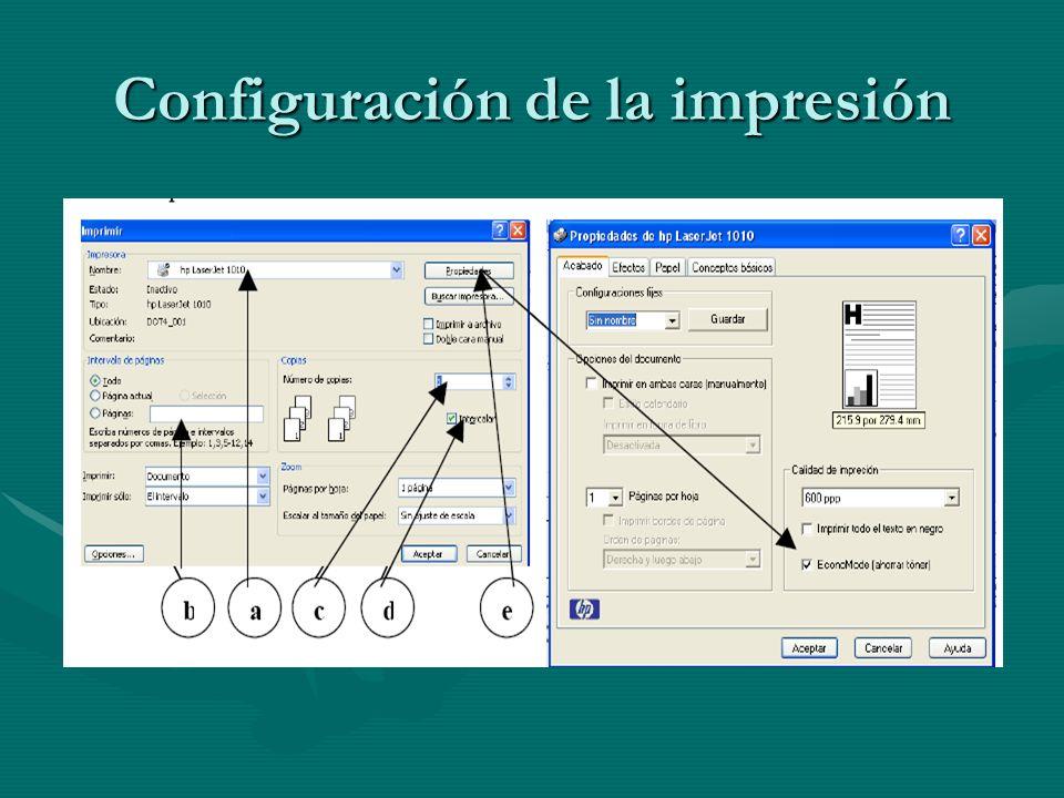 Configuración de la impresión