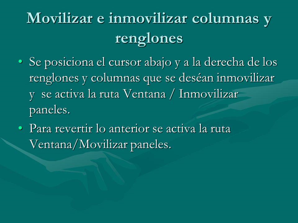 Movilizar e inmovilizar columnas y renglones