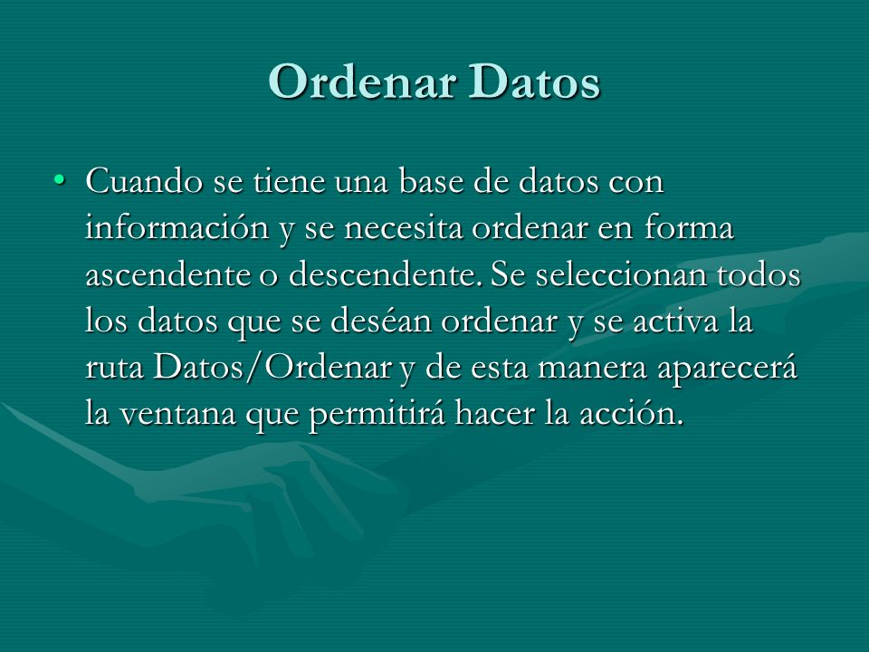 Ordenar Datos