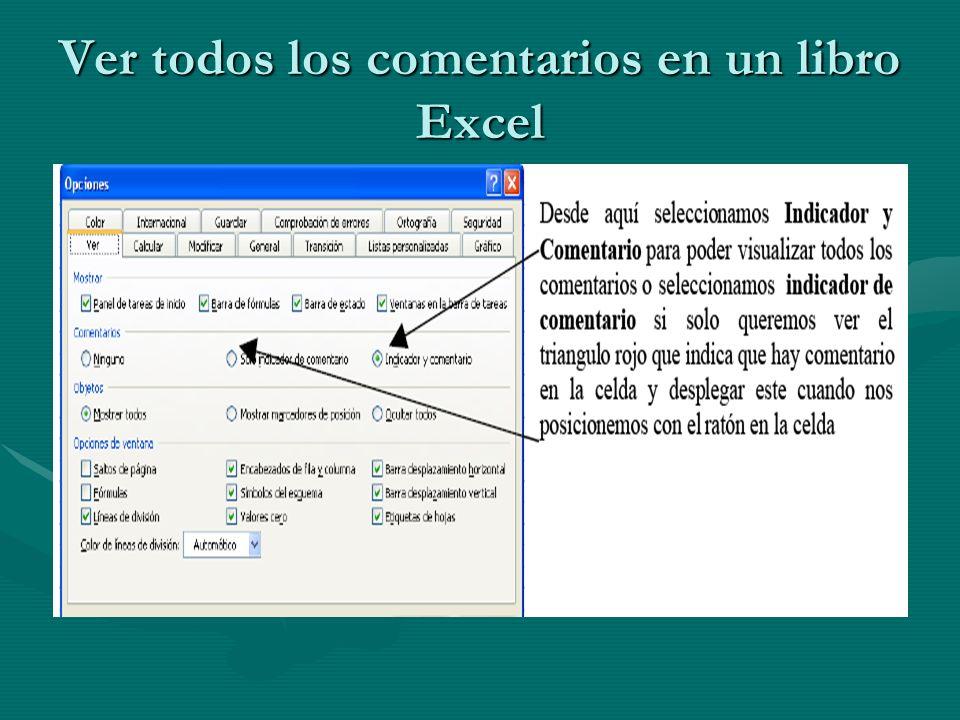 Ver todos los comentarios en un libro Excel