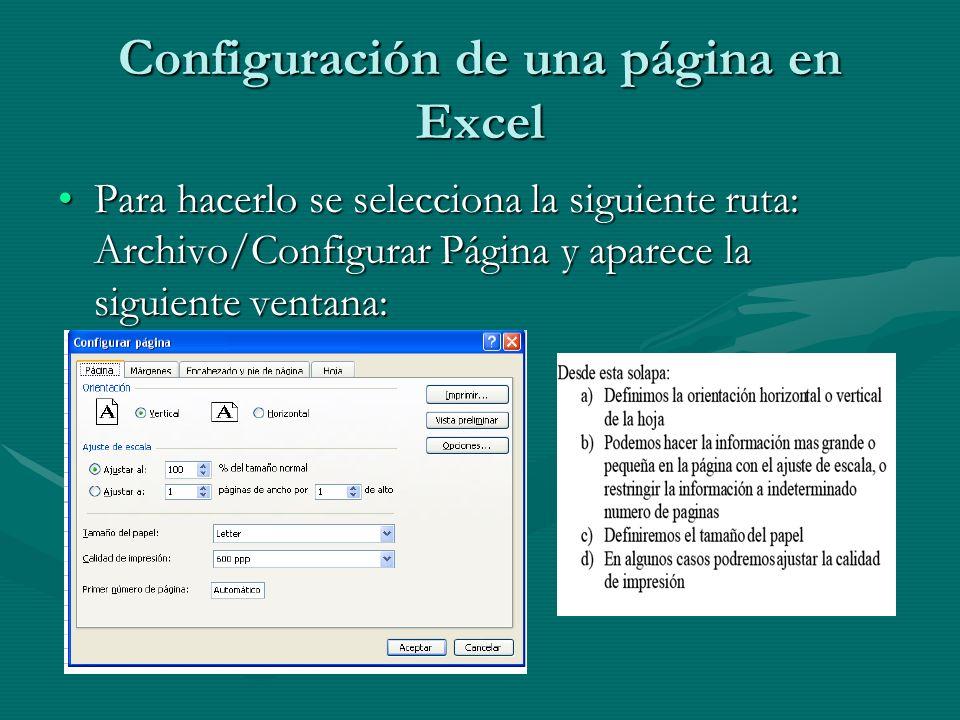 Configuración de una página en Excel