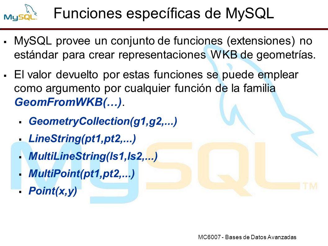 Funciones específicas de MySQL
