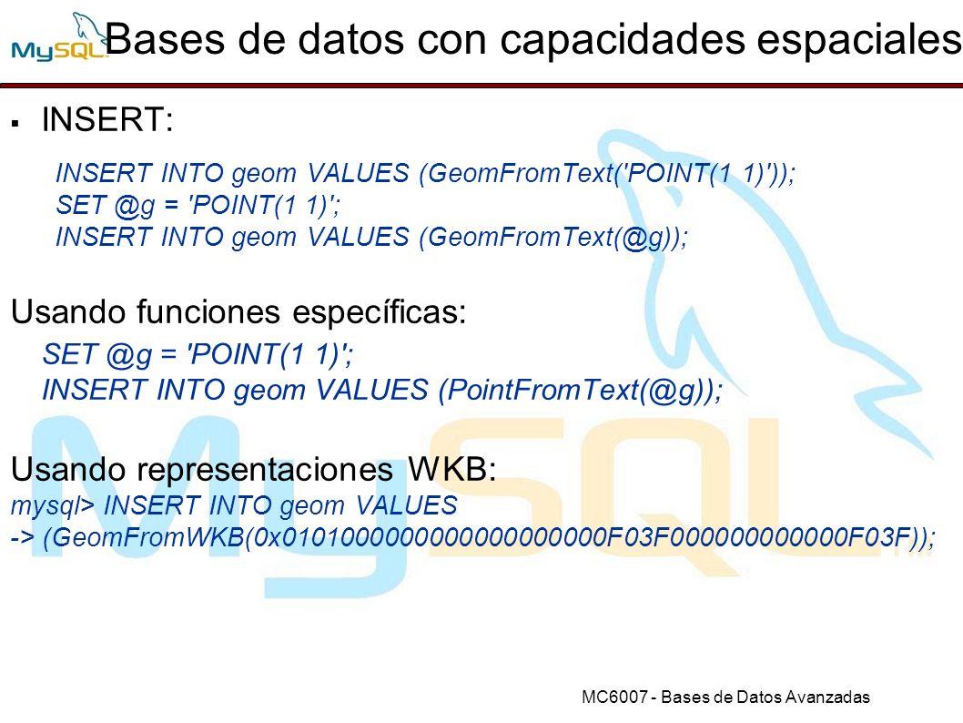 Bases de datos con capacidades espaciales