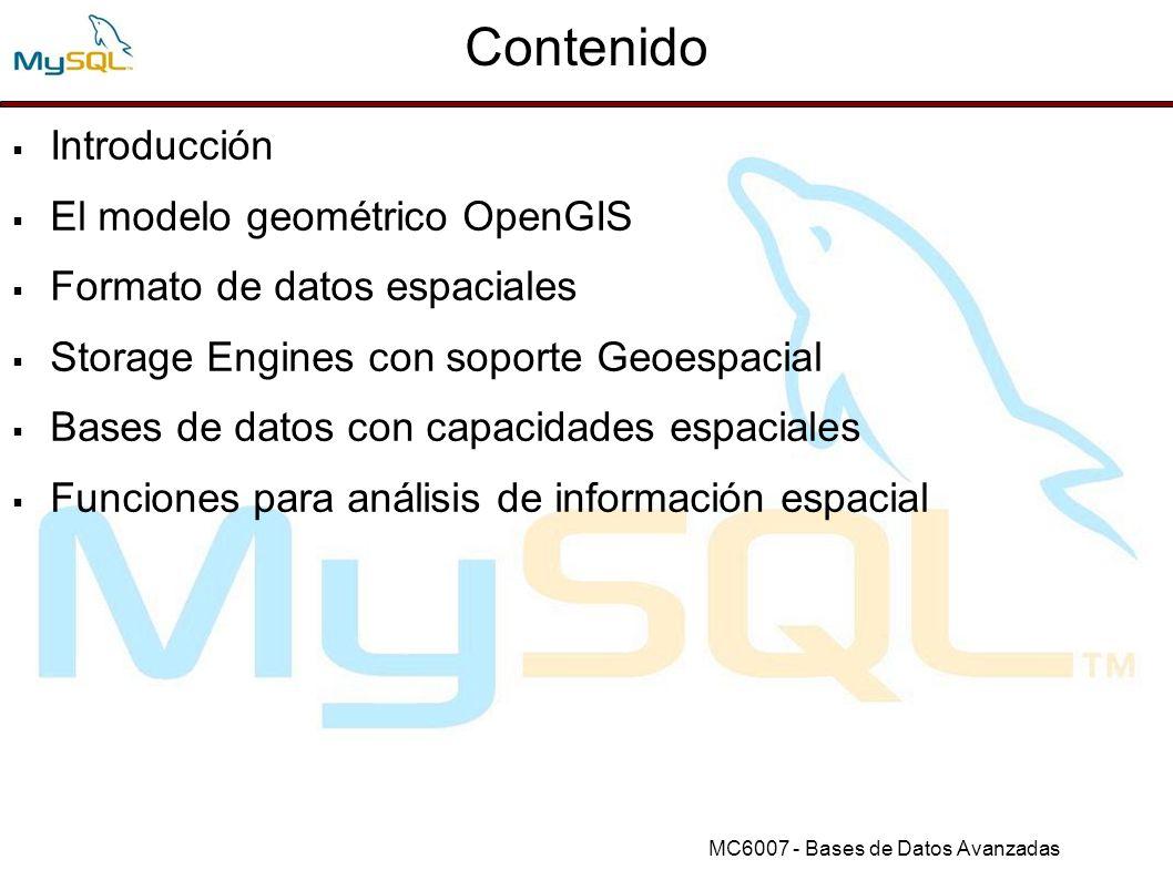 Contenido Introducción El modelo geométrico OpenGIS