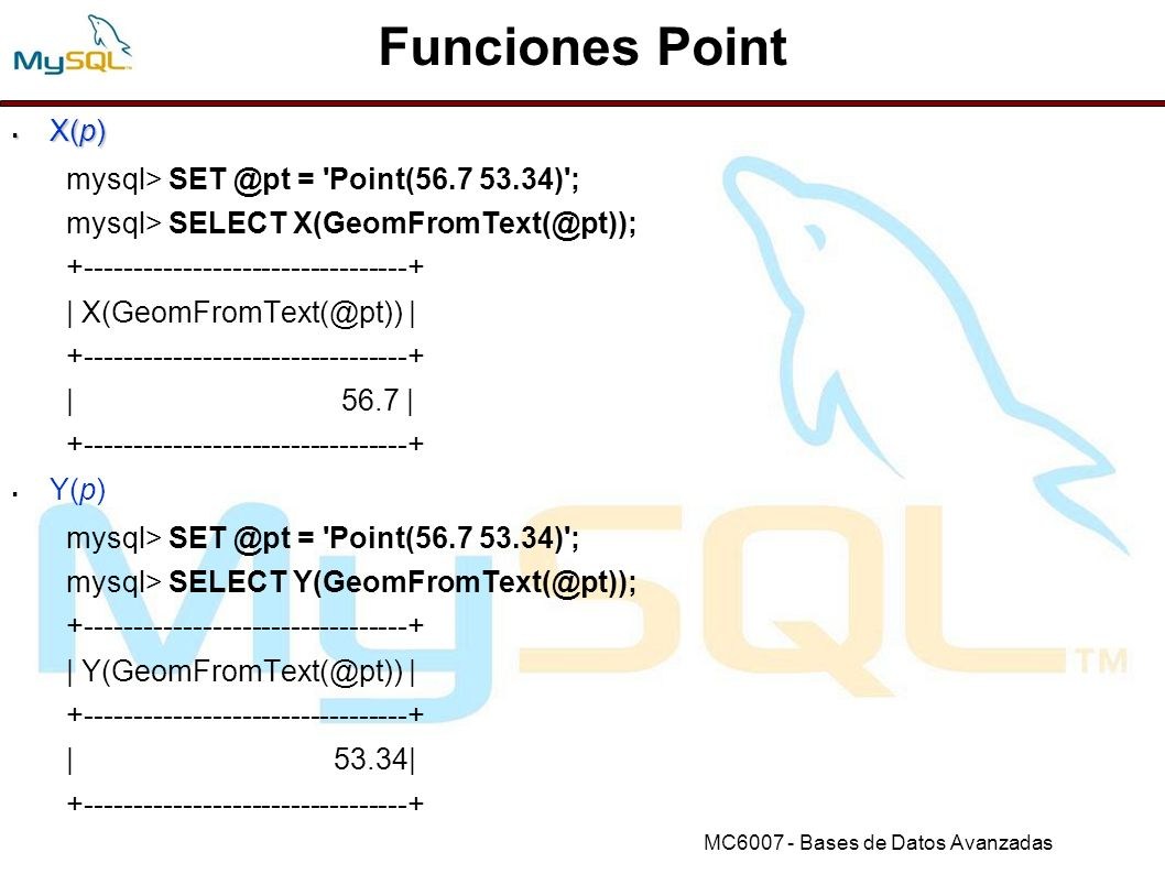 Funciones Point X(p) mysql> SET @pt = Point(56.7 53.34) ;