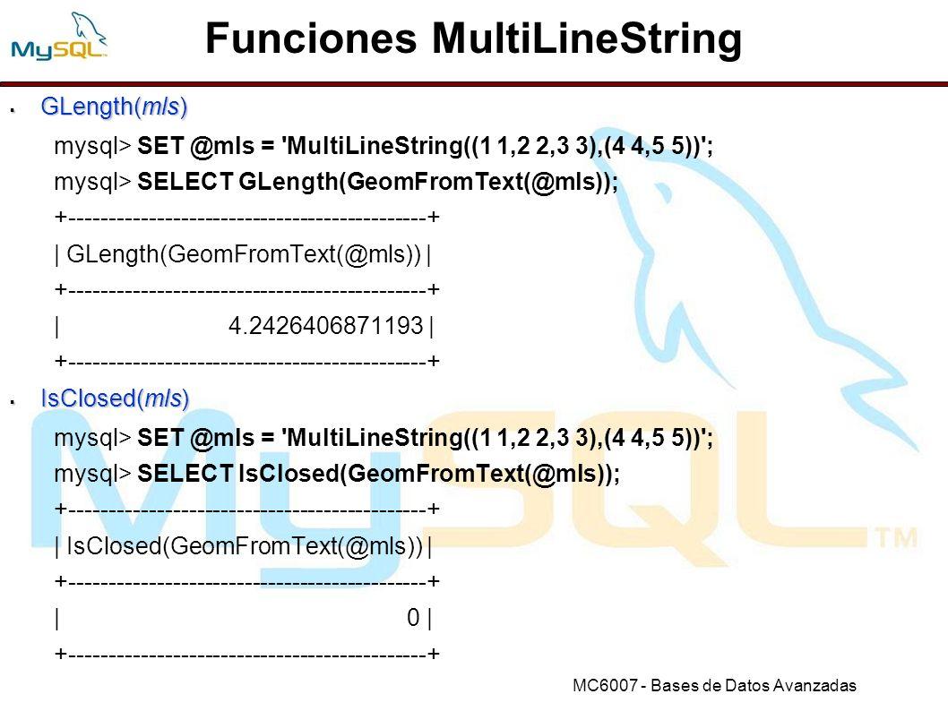 Funciones MultiLineString