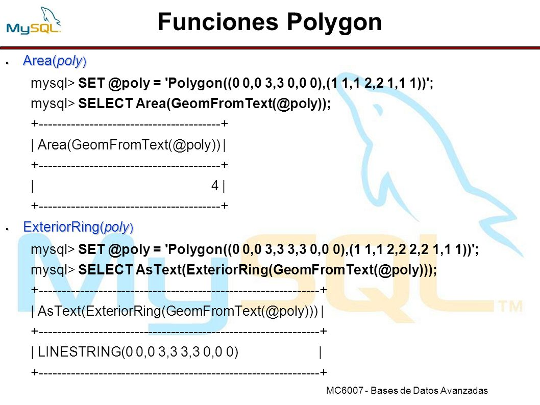 Funciones Polygon Area(poly)