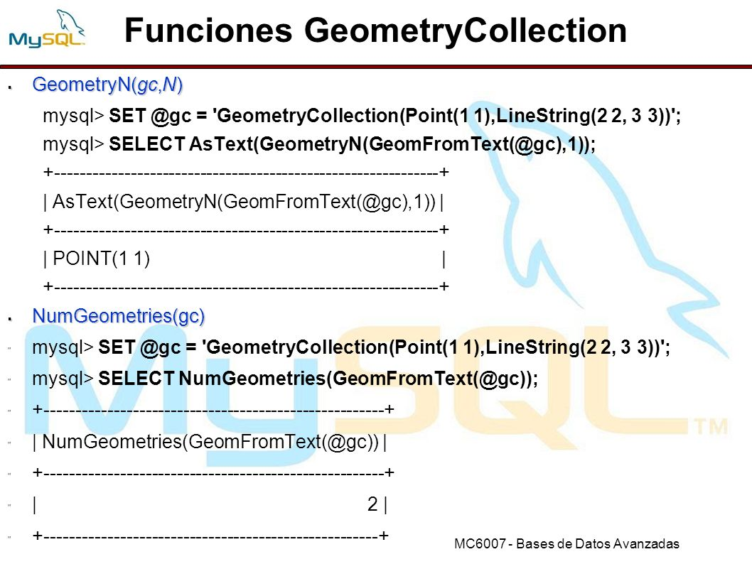 Funciones GeometryCollection