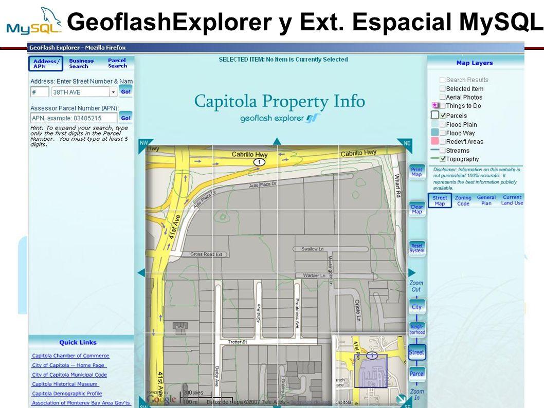 GeoflashExplorer y Ext. Espacial MySQL