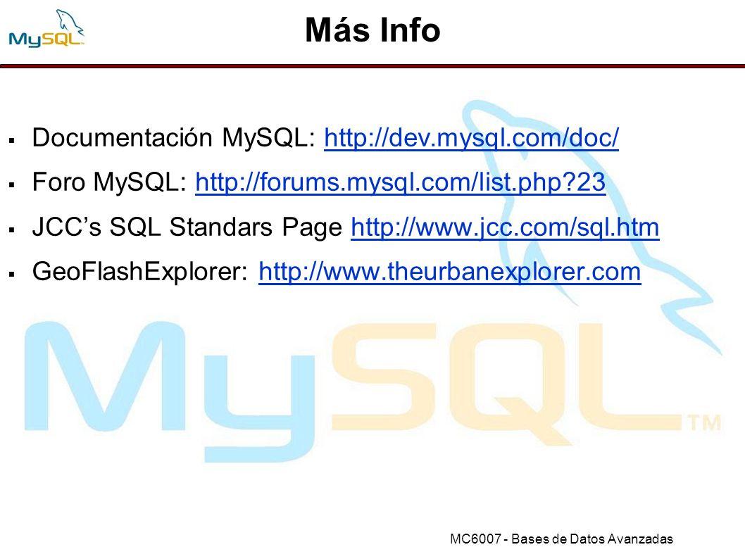 Más Info Documentación MySQL: http://dev.mysql.com/doc/