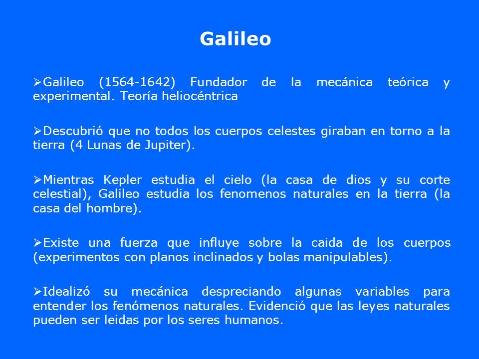 GalileoGalileo (1564-1642) Fundador de la mecánica teórica y experimental. Teoría heliocéntrica.