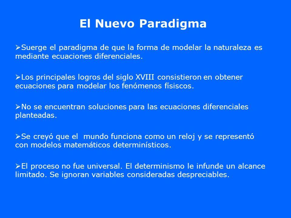 El Nuevo Paradigma Suerge el paradigma de que la forma de modelar la naturaleza es mediante ecuaciones diferenciales.