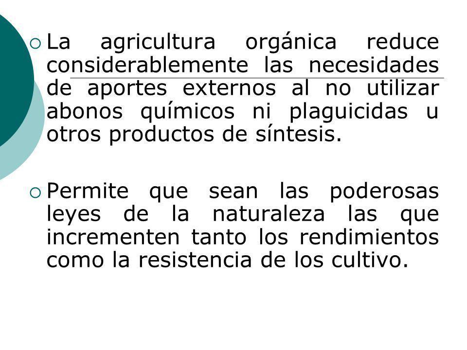 La agricultura orgánica reduce considerablemente las necesidades de aportes externos al no utilizar abonos químicos ni plaguicidas u otros productos de síntesis.