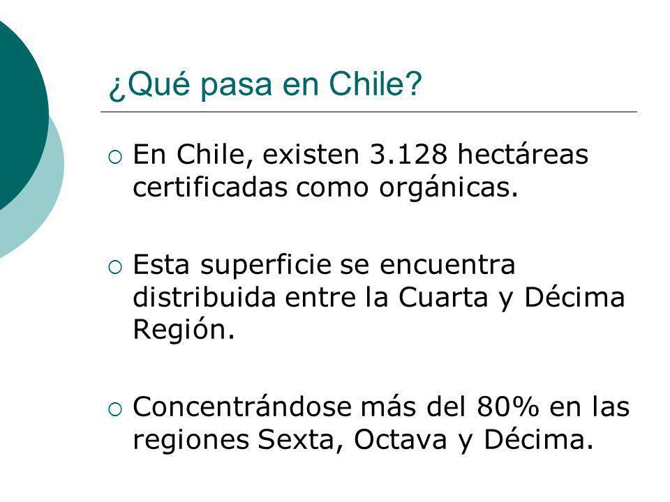 ¿Qué pasa en Chile En Chile, existen 3.128 hectáreas certificadas como orgánicas.