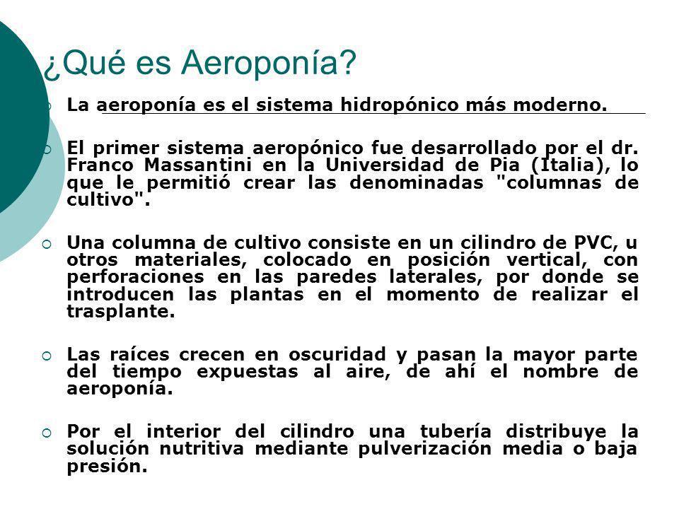 ¿Qué es Aeroponía La aeroponía es el sistema hidropónico más moderno.